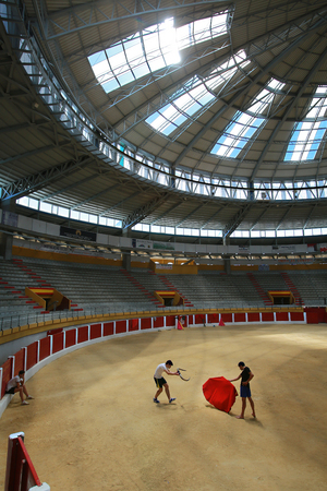 Training in a covered bullring, in the province of Valladolid.