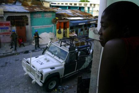 UN troops on patrol in Port-au-Prince, Haiti.