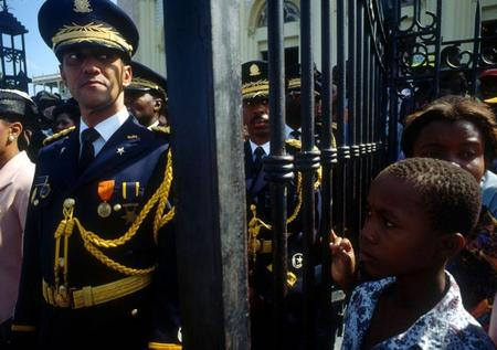 Haitian Generals Raoul Cedras & Philippe Biamby, Armed Forces day, 1992.