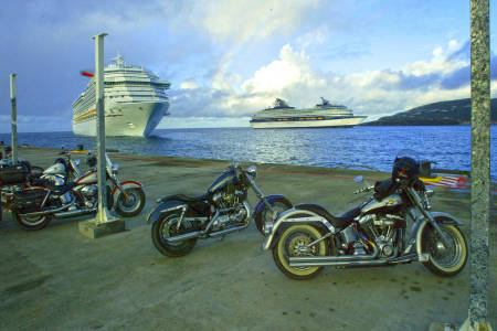 St. Martin motorcyclists await arrival of cruise ships.