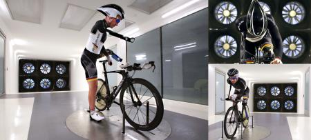 Shot for Specialized Bicycle Components; para-Olympics athlete Erich Winkler testing equipment in the company's wind tunnel (Win Tunnel).