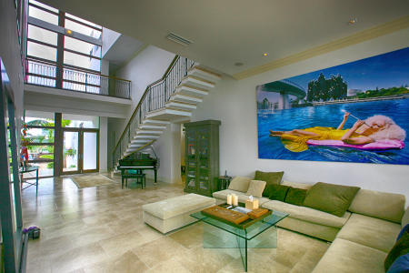 The living room of a house on the Venetian Causeway, Miami Beach.
