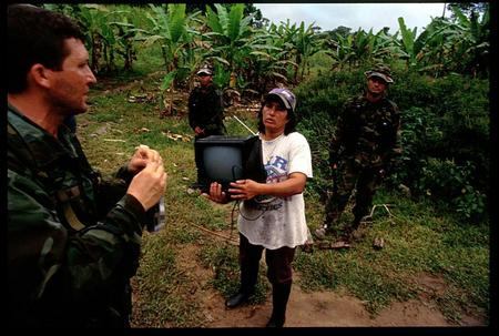 Colombia army on a coca lab raid.