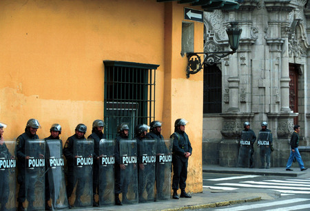 Political unrest in Lima, Peru.