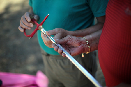 While bullfighters train in the woods outside Valladolid,  onlookers inspect their tools.
