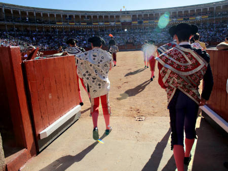 Showtime in the historic bullring of Salamanca. Tonight is a big night for the young bullfighters.