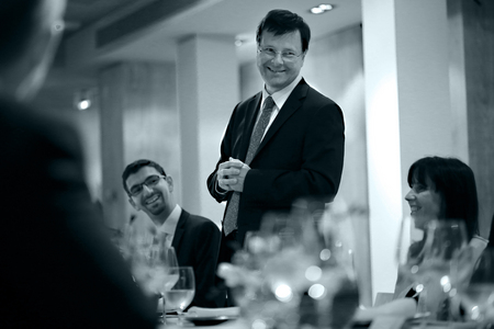 ZEISS Meditec CEO Dr. Ludwin Monz speaking at post-ESCRS dinner, Barcelona.