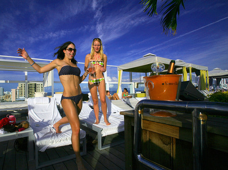 Rooftop pool at the Gansevoort South hotel on Miami Beach.
